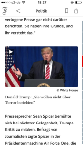 Nachrichten - Screenshot FAZ der Tag