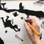 Scherenschnitt fuers Kinderzimmer - Detail Arbeit