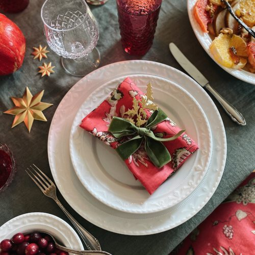 Let's dress up your christmas table! – Mini-Salon-Runde in Korallpink & Salbeigrün